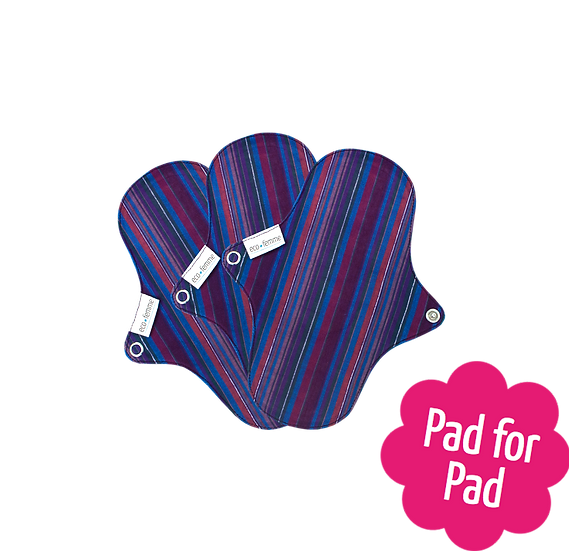 Eco Femme 鮮艷色19cm布衛生護墊3片裝(含防漏層)