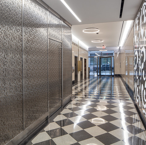 """The Excel Group completed a full renovation of a through block """"Arcade"""" Lobby in the Garment District- This project was done in phases to not impact daily use of the lobby for the occupied building"""