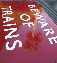 BR(M) enamel sign Beware of Trains