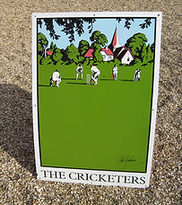The Cricketers pub sign by John Gorham