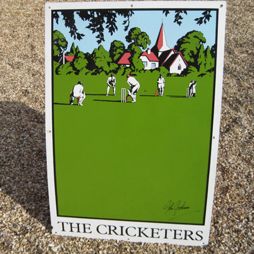The Cricketers enamel pub sign by John Gorham