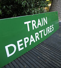 BR(S) enamel sign Train Departures