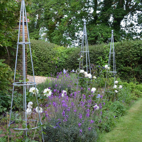 Contemporary cottage garden with roses