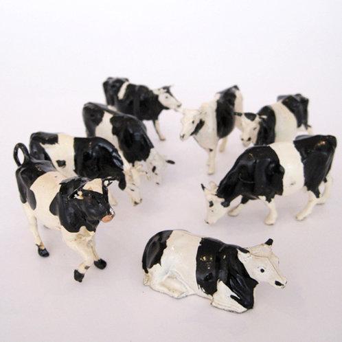 Hollow Cast Metal Cow Heard