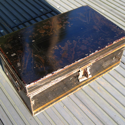 Hand Painted Tin Plate Cash Box