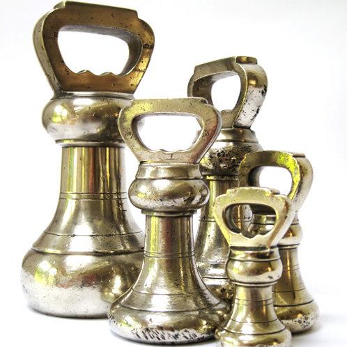 5 Nickel Brass Bell Weight Set