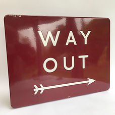 BR(M) enamel WAY OUT sign
