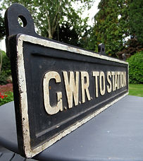 GWR cast iron hanging station sign