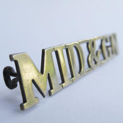 MID&GN nickel Cap Badge