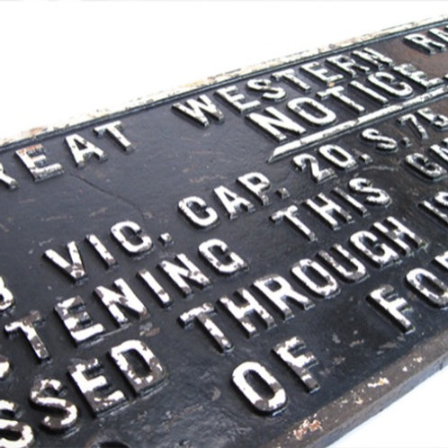 GWR cast iron gate sign