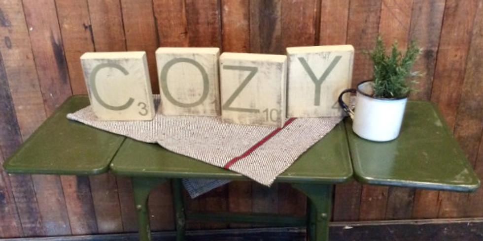Scrabble block COZY workshop
