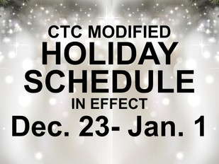 CTC Holiday Schedule