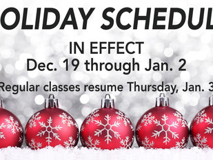 Holiday Schedule In Effect 12/19