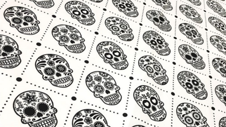 Tissu Imprimé Petit Skull en Noir et Blanc