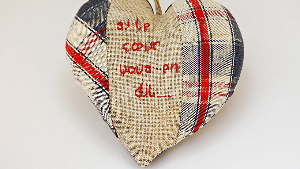 """Coeur Brodé main """"Si le coeur vous en dit"""""""