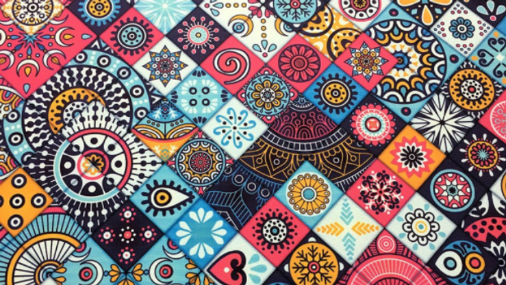 Tissu Imprimé Carreaux Ethniques