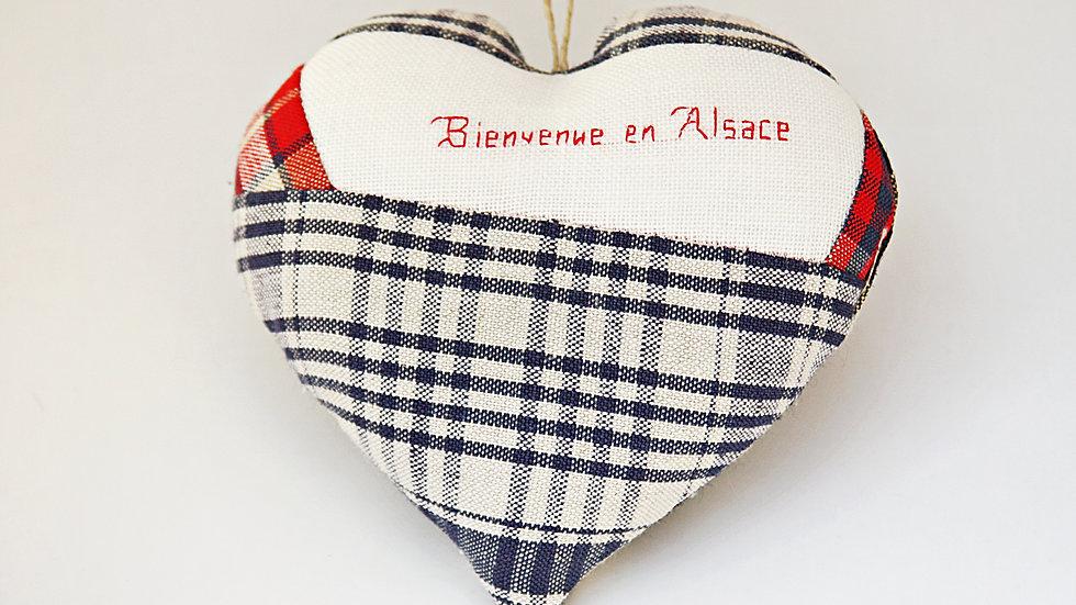 """Coeur Brodé main""""Bienvenue en Alsace"""""""