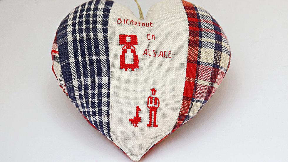 Coeur Brodé main Bienvenue En Alsace