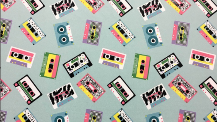 Tissu Imprimé Cassettes PopArt
