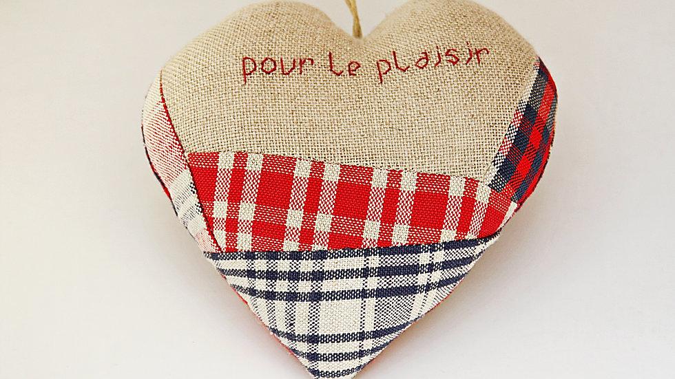 """Coeur Brodé main """"Pour le plaisir"""""""