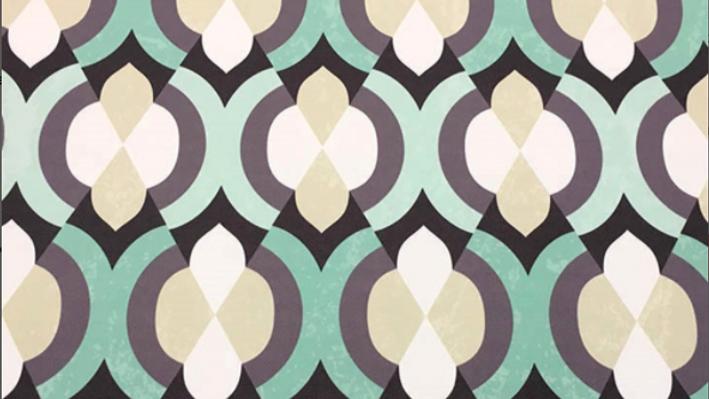 Tissu Imprimé Géométrique Beige/Vert