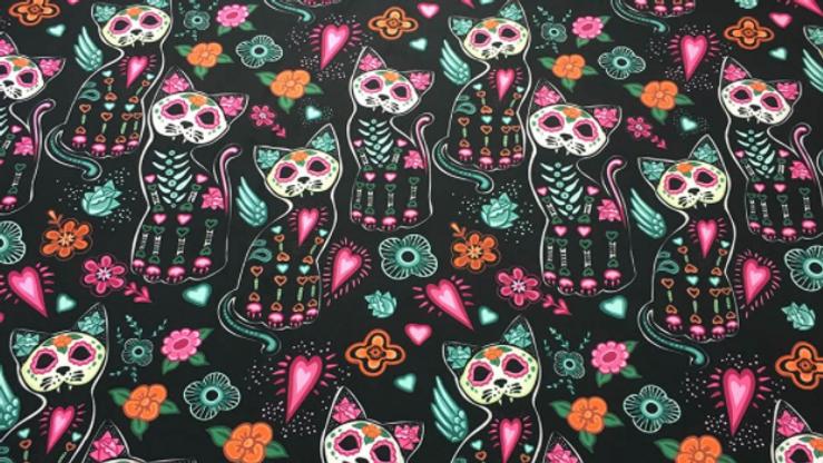 Tissu Imprimé Pop Art Skull Cat