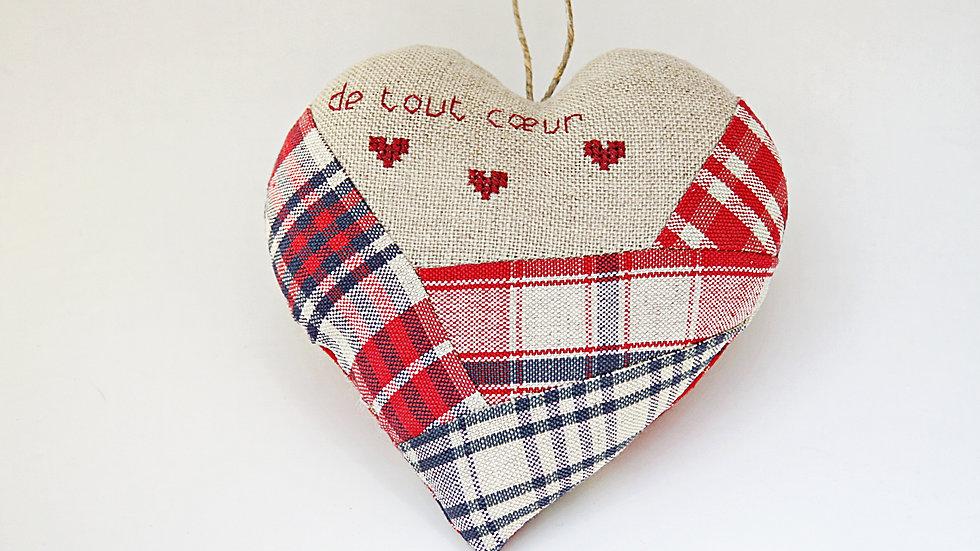 """Coeur Brodé main """"De tout coeur"""""""
