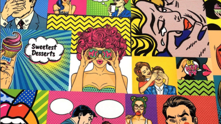 Tissu Imprimé Pop Art Comics Book