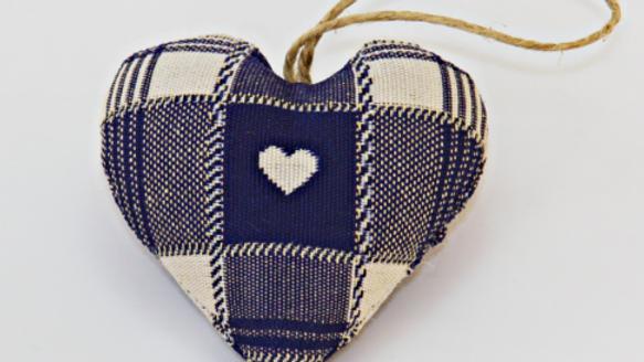Coeur fait main Carreaux Bleu