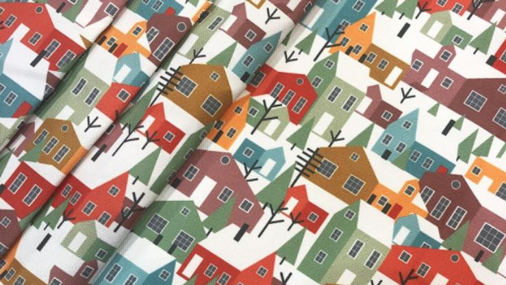 Tissu Imprimé Maisons Scandinaves