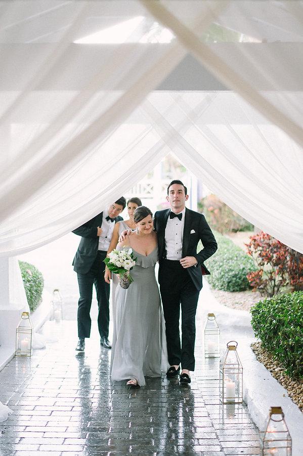 Guests entering the wedding reception