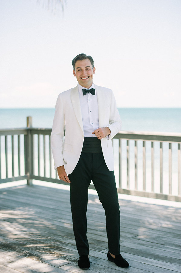 Groom ready for his wedding in the Bahamas