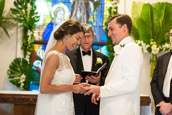 Happy moments on the wedding ceremony