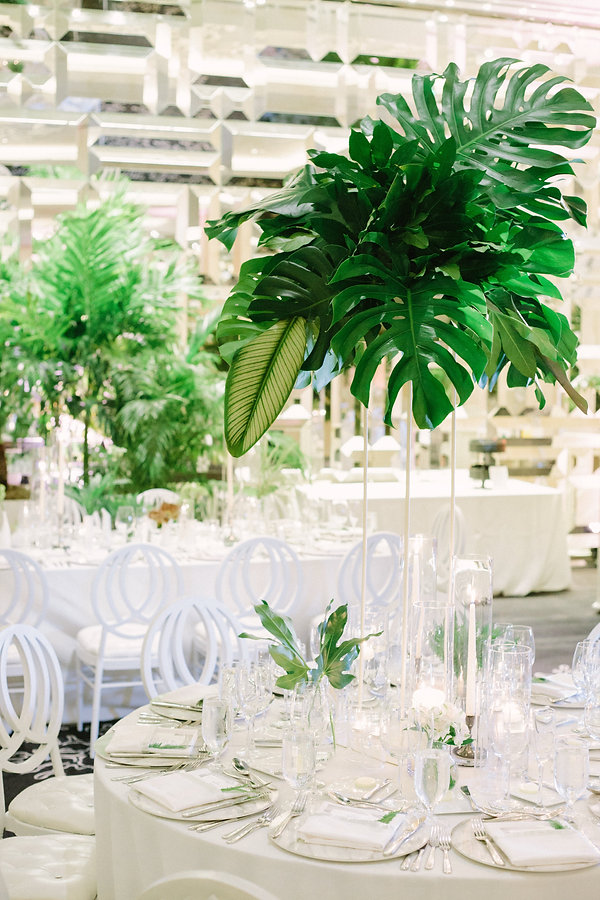tropical wedding reception details