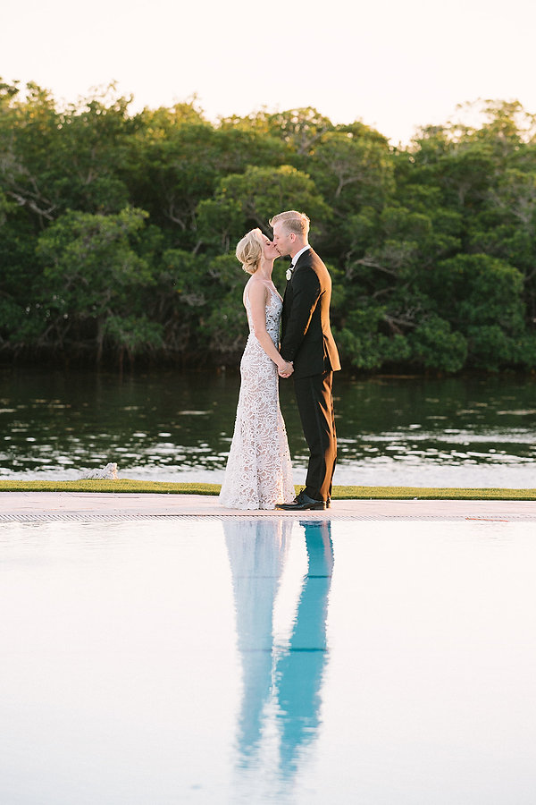 Perfect wedding photo under a romantic sunset