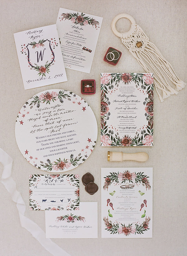 Custom pink bohemian floral stationery wedding invitation suite by The Messy Painter