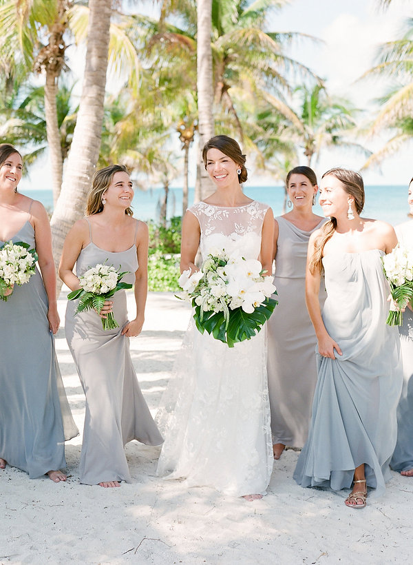 Beautiful bride with her Bridesmaids in the Bahamas