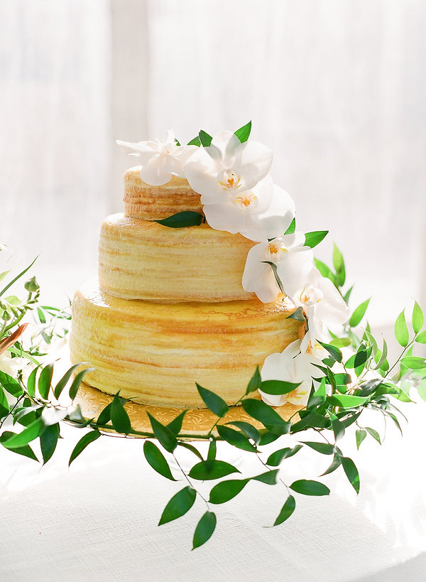 beautiful wedding cake from Lady M Confections