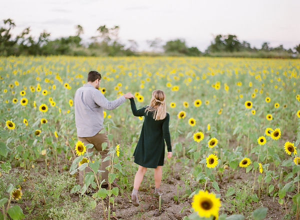 Sun flower field engagement session