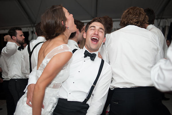 Bride and groom enjoying their reception night