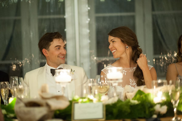 Groom and brides intimate look at each other
