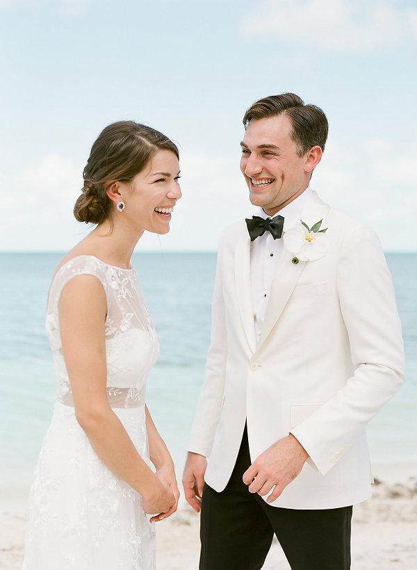 Wedding first look in Cat Cay Bahamas