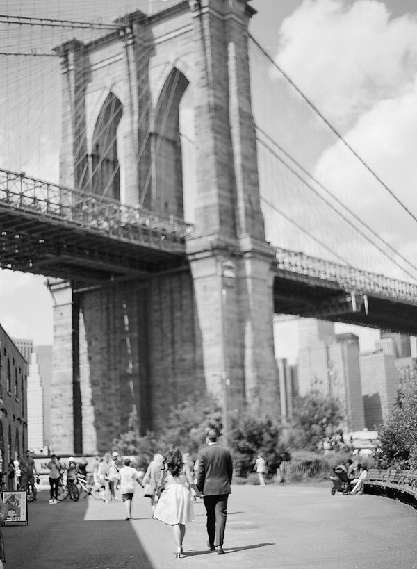 black and white engagement photo in brooklyn