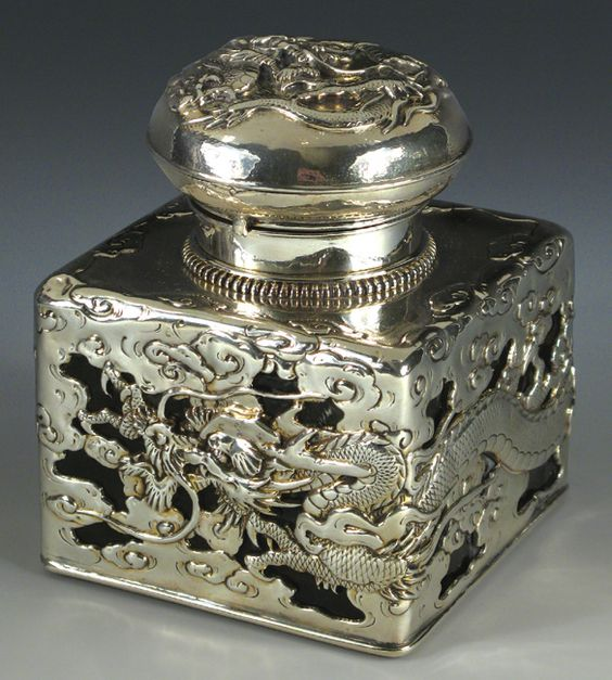 Silver dragon ink well c. 1920  from Flyingcraneantiques