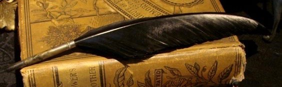 Raven feather quill pen Image from gothicroseantiques