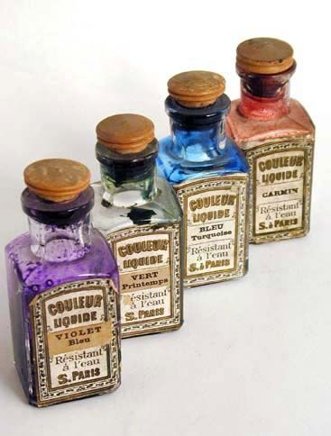 Early ink bottles image from letterology.blogspot
