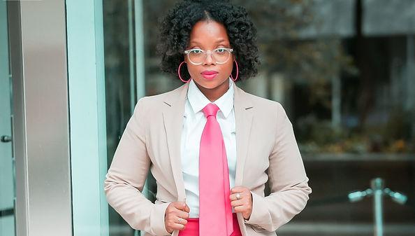 Me in  Pink Tie Tan Jacket Up close crop
