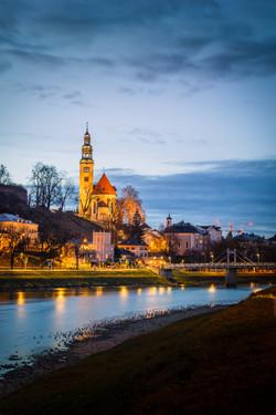 Salzburg church at dusk