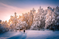 Snow and sunset
