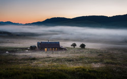 Cattle shed at dawn, Marcesina
